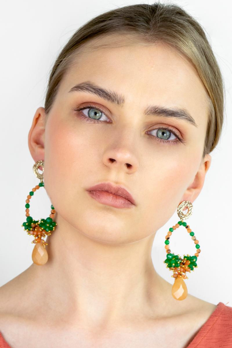 Orecchini-verdi-e-arancione-in-pietre-naturale